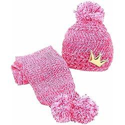 kingko® Mignon hiver bébé Enfants Filles Garçons Réchauffez laine Coif Capuche Écharpe Caps Chapeaux (hot pink)