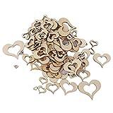 ULTNICE Herzen Holz Deko 100pcs konfetti Herz aus Holz für Dekoration 10mm-50mm