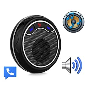 eSynic Round-Shape Bluetooth Car Drive Speaker Sun Visor Clip HandsFree Car Kit Speakerphone for Cell Phone iPhone 5 5S Samsung HTC- Pair with 2 Phones- Support HSP & HFP