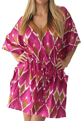 Capri-baumwoll-leibchen (La Leela 100% reiner leichter Baumwolle Badeanzug Frauen anthemion Kunstblock Badeanzug plus Größe beiläufige 4 in 1 Strand Bikini oben Tunika Lounge basic Kleid rosa decken)