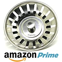 """Plugsville 79mm (3"""") Dia. Stainless Steel - Lovely Kitchen Sink Strainer Basket Waste Plug - Stop Your Sink Drain Pipe from Clogging and Causing Bad Smells. Excellent Quality"""