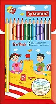 Stabilo Trio Maxi 12 Matita colorata triangolare - Trio thick - Astuccio da 12 + temperino - Colori assortiti