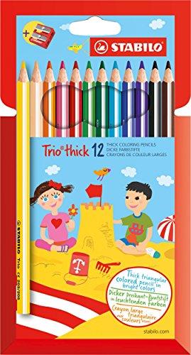Stabilo trio maxi matita colorata colori assortiti con temperino - astuccio da 12