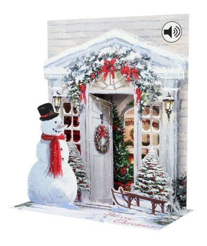 Pop Up Cards 3D Holiday Door Musical Sound Christmas Card