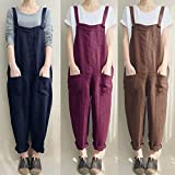 VONDA Women's Strappy Jumpsuits Overalls Baggy Harem Wide Leg Dungarees Rompers