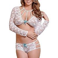 Damen Unterwäsche,Hansee Reizvoll Dessous Frauen Sexy Dessous Bodysuit Bandage Bowknot Overall Unterwäsche Nachthemd Spitzenkleid G-String Nachtwäsche