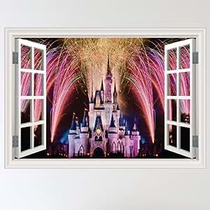 Full Colour Fairy Tale Castle Mystical Fireworks Window Scene Wall Sticker Decal Wall Art Girls Room (W70xH49cm)