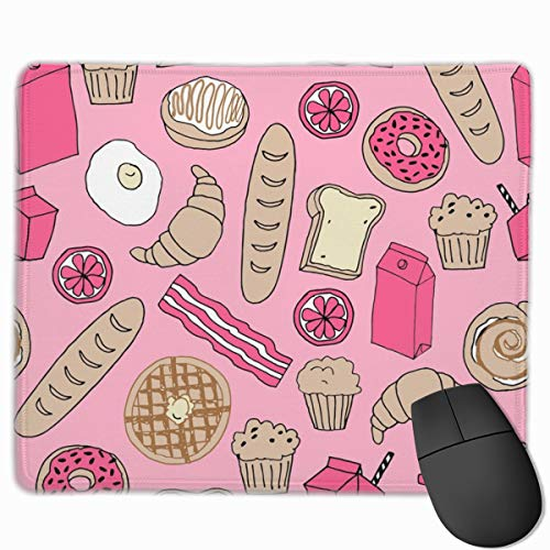 Brunch Breakfast Brunch Pink Food Breakfast Donuts French to Personalized Mouse Pad - Add Pictures, Text, Logo Or Art Design and Make Your own Customized Mousepad.11.8 x 9.8 Inch Pink Breakfast