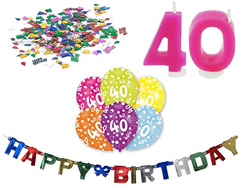 Lesupa Living Happy Birthday 40 Geburtstag Deko-Set Girlande 6X-Ballons Geburtstags-Kerzen Konfetti