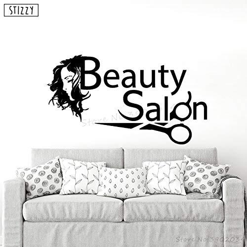 yaoxingfu Wandtattoo Make-up Frau Mädchen Schönheitssalon Wandaufkleber Abziehbilder Mode Kosmetik Fenster Logo Dekor Haarschnitt Poster gelb 102x57cm