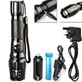 CVLIFE 800 Lumens CREE XM-L T6 LED Adjustable Focus Rechargeable Flashlight Lamp Light with 18650 Battery & Chargers