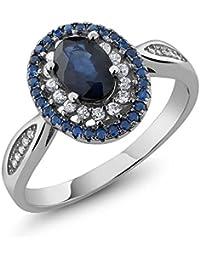1.60 ovalada azul zafiro anillo de plata de ley 925