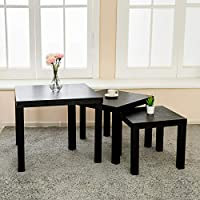 mecor Black Nesting Tables Coffee Table Modern Design Living Room Table