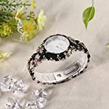 New Stylish Latest Collection Quartz Movement Analogue Display Multi Coloured Floral Printed Beautiful Pink Floral Rose Designed Strap for Women's Watch | Girl's Watch by - MARCLEX