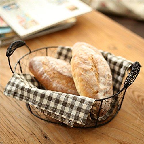 Z@SS Metall Brot Servieren Korb, Rustikale Tabletts Für Parteien, Herzstück Für Kaffee Oder Esstisch, Document Organizer Für Büro Oder Küche,Black
