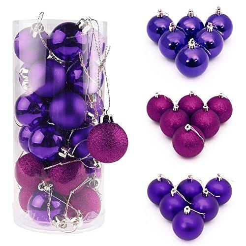 ILOVEDIY lot de 4/6/8CM boules de noël pour décoration sapin diverses quantités et tailles au choix(24Pcs - 4cm, violet)