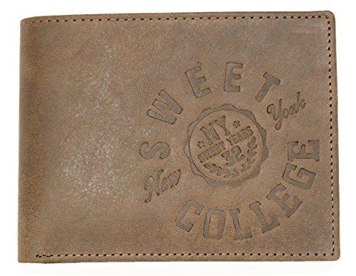 Portafoglio Sweet College marrone versione tri-fold in opaco vera pelle resistente