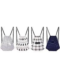 LWVAX Summer Style Backpack Beach Drawstring Bag Canvas Women Rucksacks For Girls Backpacks(Random Color)