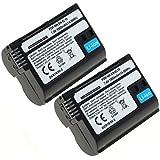 2x subtel® Batterie pour Nikon D750, D500, D600, D610, D800, D7000, D7100, D7200, 1 V1, MB-D12 - 1900mAh - Batterie de rechange Nikon EN-EL15, ENEL15, accu remplacement
