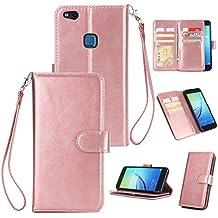 Slynmax - Funda con tapa para Huawei P10 Lite (piel sintética, incluye lápiz capacitivo), color negro, rosa dorado