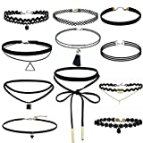 Kingko® Women's Trendy Black Lace Choker Necklace Set Stretch Classic Gothic Tattoo Retro Jewelry (11 PCS)