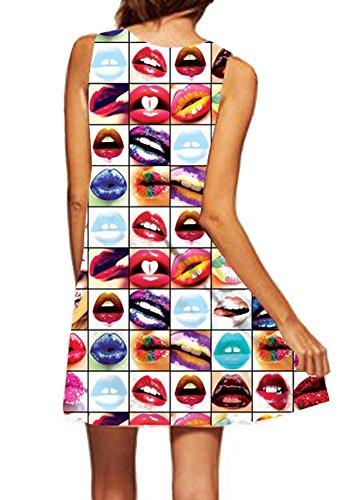 Damen Sleeveless gedrucktes beiläufiges Boho Midi Chiffon Blumen Tunika einteiliges Kleid Top C4