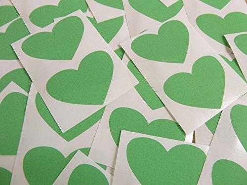 50x37mm Verde Claro Con Forma De Corazón Etiquetas, 40 auta-Adhesivo Código De Color Adhesivos, adhesivo Corazones para Manualidades y Decoración