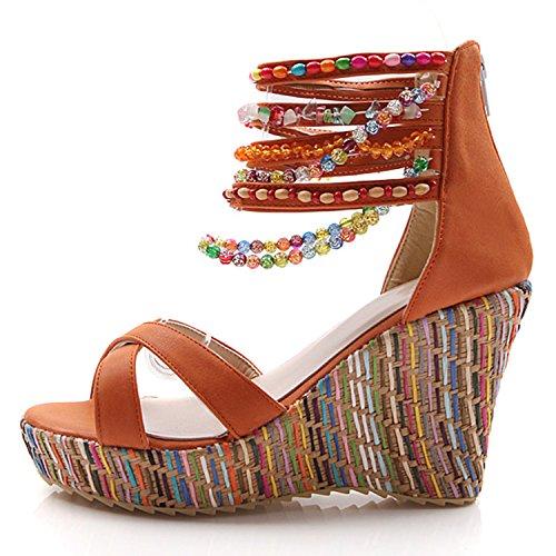 Oasap Women's Bohemian Ankle Strap Beaded Wedge Heels Sandals Orange
