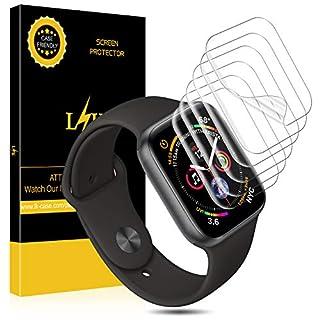 L K [6 Stücke Schutzfolie Kompatibel mit Apple Watch 40mm Series 5/4 38mm Series 3/2/1, HD klar Flexible Folie [Blasenfreie][Max Abdeckung][Premium-Qualität] Displayschutzfolie