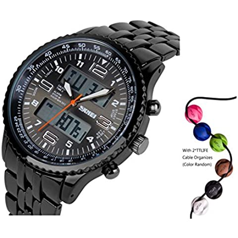 TTLIFE 1032 Caso lega con Mens Resistente all'acqua display LED Orologi sportivi analogico digitale da polso al quarzo