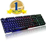 #7: Famous Quality Latest Multiple Color Lighting Wired USB Keyboard Full Size Slim Desktop Keyboard for Computers,Laptop,PC