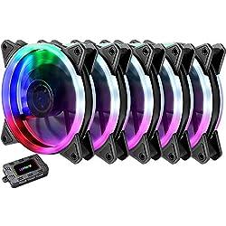 upHere RGB Ventole ultra silenziose per case 120 mm, con LED Rosso, dissipatori di calore e radiatori per CPU 5 Set(RGB123-5)