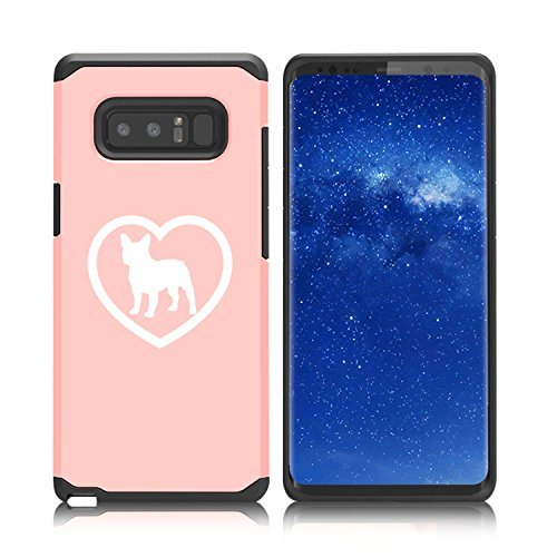 Pimp for Samsung Galaxy (Note 8) Shockproof Impact Hard Soft Case Cover French Bulldog Heart (Rose Gold)