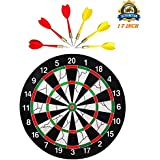 Tavakkal® Latest Double Faced Flock Printing Thickening Family Game Dart Board With 6 Needle, 17 X 17-inch