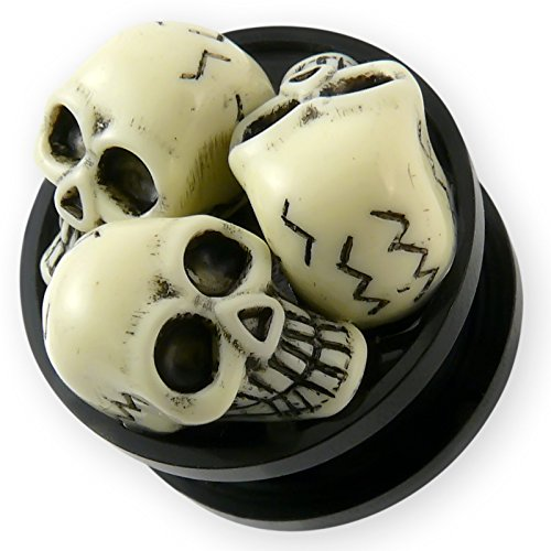 Fly Style 3D Ohr-Plug Acryl Flesh Tunnel Totenkopf 3 Skulls 4-22 mm Schwarz pg064, Grösse:4 mm - Tote Sattel
