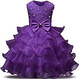 NNJXD Mädchen Kleid Kinder Rüschen Spitze Party Brautkleider Größe(100) 2-3 Jahre Tiefes Lila