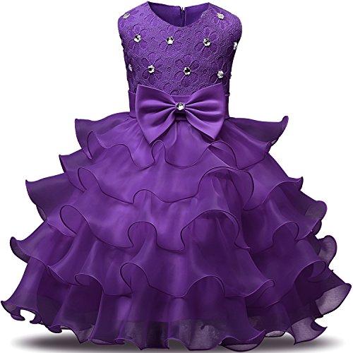 NNJXD Mädchen Kleid Kinder Rüschen Spitze Party Brautkleider Größe(140) 6-7 Jahre Tiefes Lila