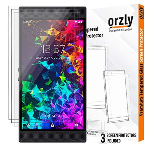 ORZLY® - Panzerglas Bildschirmschutzfolie Razer Phone 2 (2018) - 3X Hartglas Schutzfolien für Razer Phone 2 mit Handyhülle Schütz - Schwarz