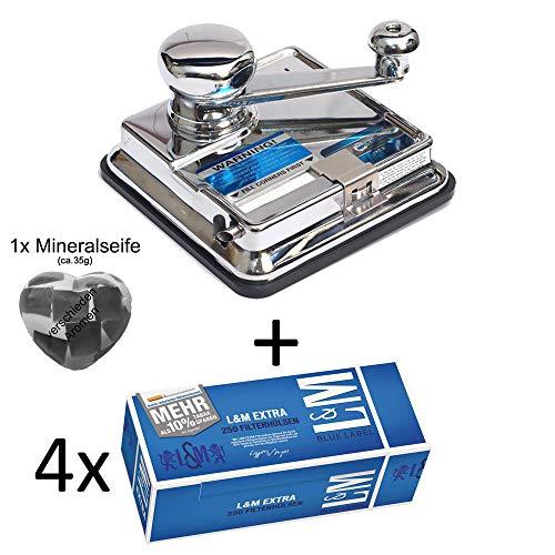 OCB® MikrOmatic Duo (Stopfmaschine) + 1.000 (4x250) L&M Blue Label EXTRA (Zigarettenhülsen) + 1x Seife