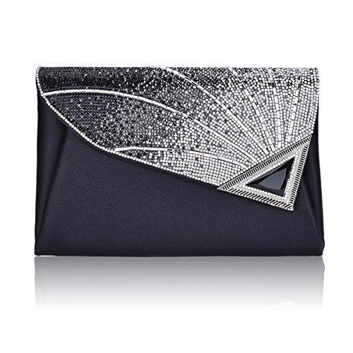 Peacock-stoff-handtaschen (Elegant Abendtasche Damen Clutch Tasche Glitzer Leder Schultertaschen Strass Party Tasche Umhänge Tasche)