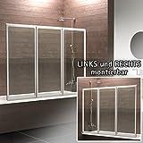 Schulte Duschwand München, 130 x 120 cm, 3-teilig faltbar, 3 mm Sicherheits-Glas klar, alpin-weiß, Duschabtrennung für Wanne Vergleich