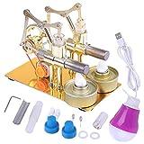 TETAKE Stirlingmotor, 2 Zylinder Sterling Motoren, Stirling Engine, Dampfmaschine Pädagogisches Spielzeug Geschenk für Kinder Erwachsene Technikinteressierte Bastler, aus Metall -