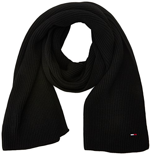 Tommy Hilfiger Basic Knit Denim Scarf, Bufanda para Mujer, Negro (Black), única (Talla del Fabricante: OS)