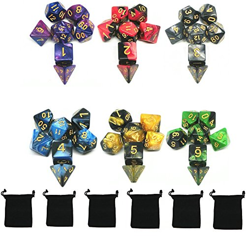 Poliédrico Dados, 6 x 7 (42 Piezas) Colores Dobles Dados de Juego, para Dungeons and Dragons DND RPG MTG D20 D12 D10 D8 D6 D4 de mesa Juegos de cartas, con Paquete de 7 Negro Bolsas