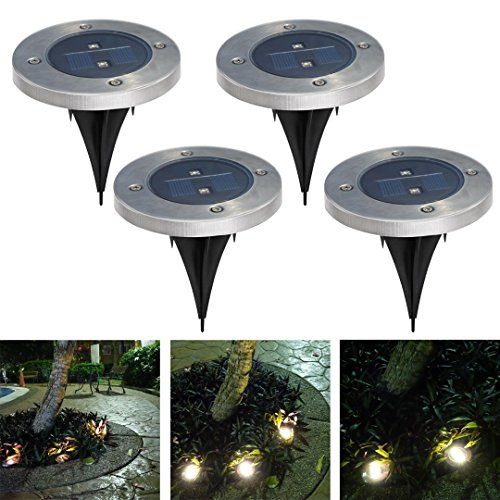 27bd46ff3f542 Mingli Tai 2 LEDs Solar Powered Waterproof ground lights set of 4 with 10  Lumen Waterproof Garden Pathway Stairway Driveway patio Decorative Lights  ...