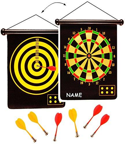 alles-meine.de GmbH 2 seitiges - Magnetspiel Dart - incl. 6 Dartpfeile - OHNE Spitze - incl. Name - mit 2 Spielvarianten - für Kinder & Erwachsene - drinnen und draußen Spiel - D..