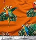 Soimoi Orange Satin Lourd en Tissu Feuilles de Monstera et Perroquet Ara Oiseau Tissus imprimes par Metre 54 Pouce Large