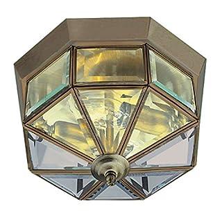 Antique Brass Finish Lantern style Flush Ceiling Light with Glass Panels, 8235AB
