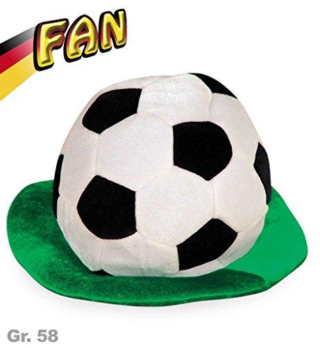 Kostüm Spieler Fußball (FAN Fußballhut mit Rasen Deutschland WM - Gr. 58)