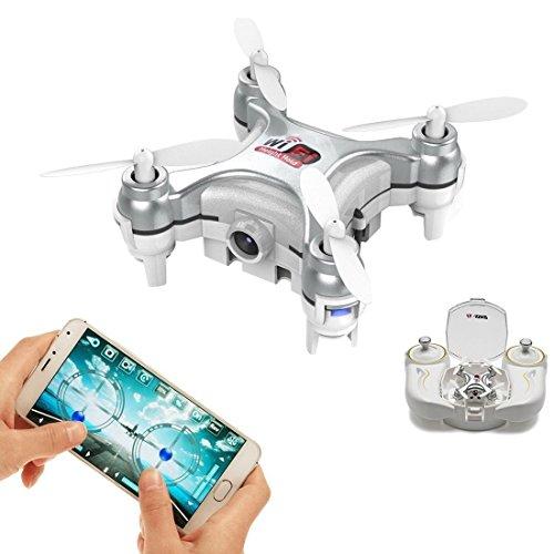 Wi-Fi und ferngesteuerte Mini quadcopter, Volarvin® - Super Micro nano quadcopter rc Drohne mit Kamera-LED-Leuchten und Fern 2,4 g 4-Kanal-3D-Gyro 6 Achsen mit 360 Stunt-Spin-Flips (nur 4.5x4.5x2.5Cm) in Silber (Copter Nano Cheerson)
